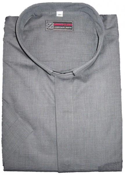 Graues, kurzärmeliges Kollarhemd fil-a-fil