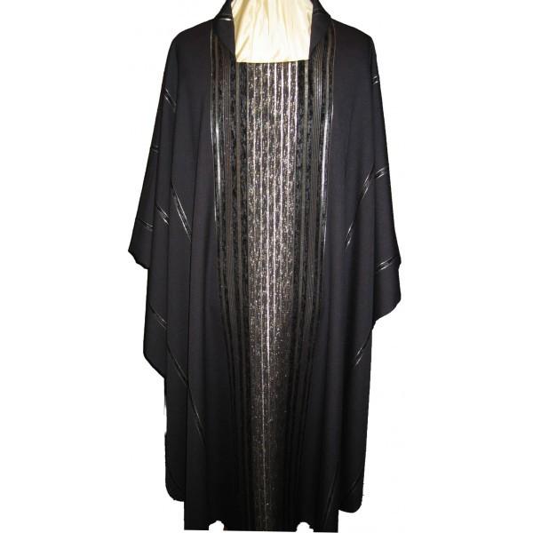 Messgewand - schwarz, handgewebt mit Streifen- Vorderteil
