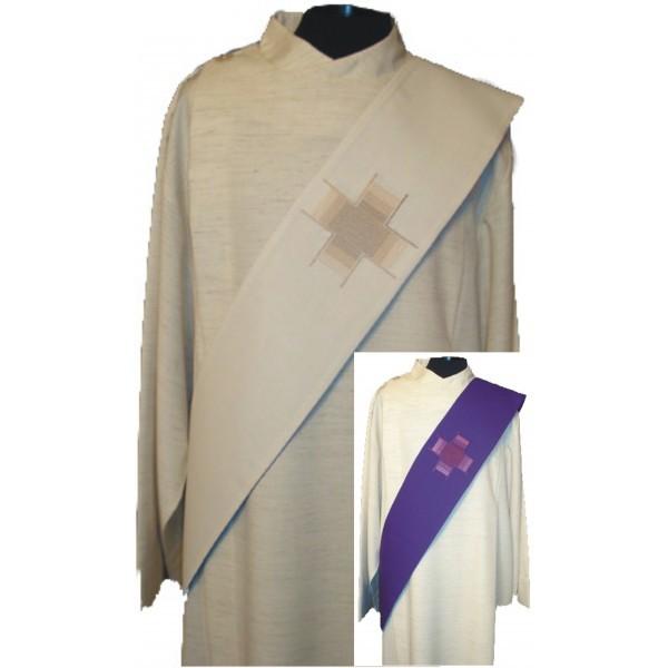 Wende-Diakonstola mit 1 Kreuz - violett/weiß - Vorderteil