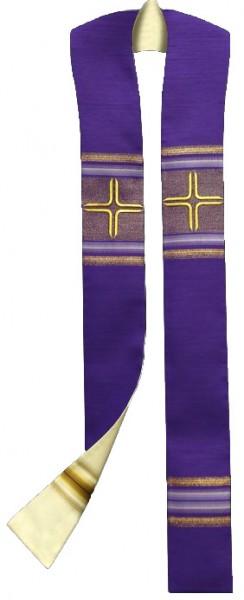 Wendestola weiß/violett mit Streifen und Kreuzen - v