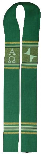 grüne Stola mit Streifen, Kreuz, A und O