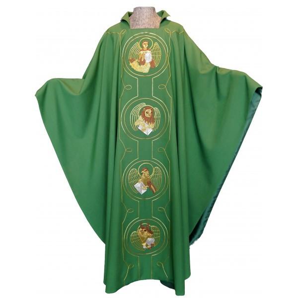 Messgewand - grün mit den 4 Evangelisten und Lamm - Vorderteil