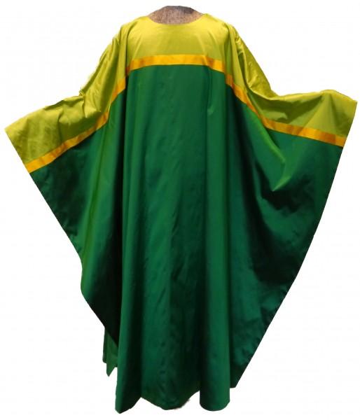 grüne Seidenkasel mit gelbem Querstreifen - 1