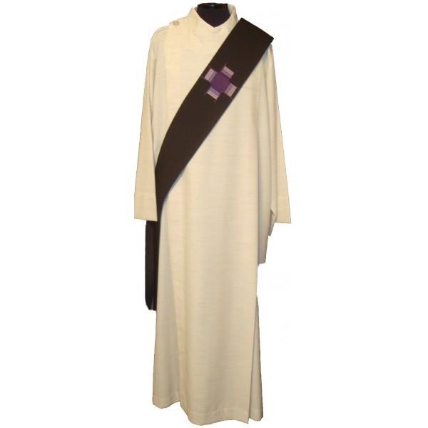 Diakonstola, schwarz mit violettem Kreuz - Vorderteil