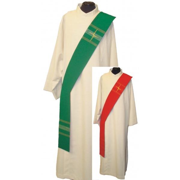 Wende-Diakonstola rot/grün mit Streifen und Kreuzen - Vorderteil