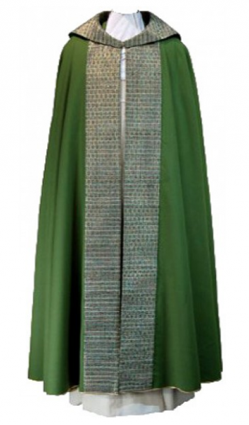 Grüner ungefütterter Rauchmantel mit Besätzen aus handgewebter Seide - Vorderteil