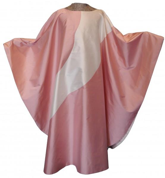 Seidengewand in rosa mit cremefarbenem Einsatz - Vorderteil