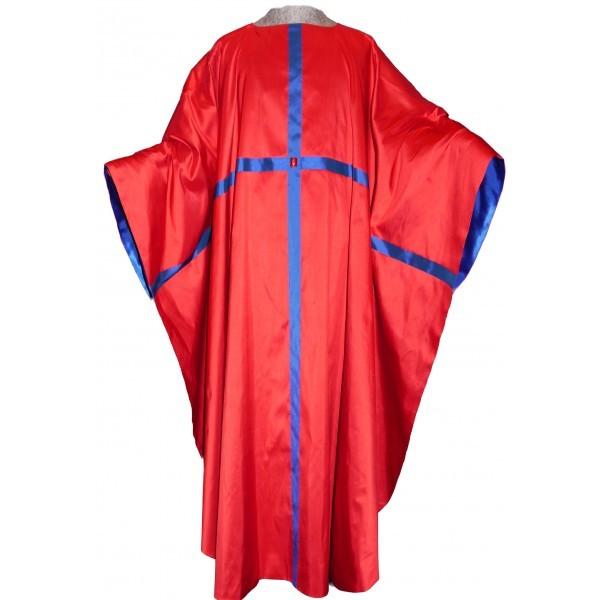 Messgewand - rot aus Seide mit durchlaufendem Kreuz