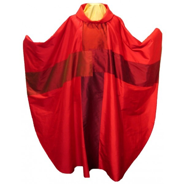 Seidenkasel - rot mit 4-teiligem Kreuz