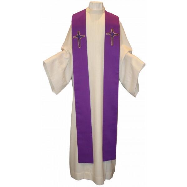 Seidenstola - violett mit applizierten Kreuzen aus Seide- handbestickt