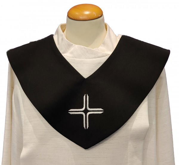 schwarzes Scapulier - silbernes Kreuz