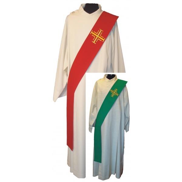 Wende-Diakonstola rot/grün mit goldenen Kreuzen bestickt - Vorderteil