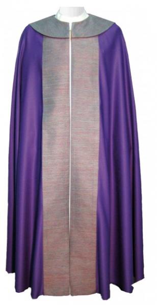 Chormantel - violett mit Seidenstab und Cappa-Vorderteil