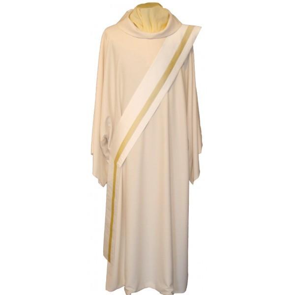 Diakonstola creme aus Seide mit goldfarbenem Streifen - Vorderteil