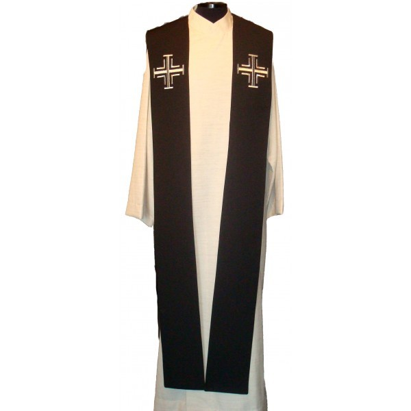 Stola - schwarz mit silbernen Kreuzen