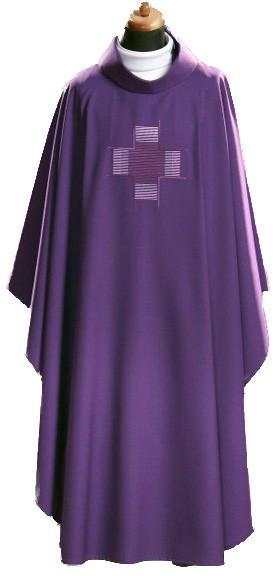 Kasel - violett, schlicht mit eingesticktem Kreuz