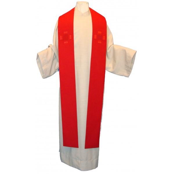 Stola - rot, schlicht mit Kreuzen