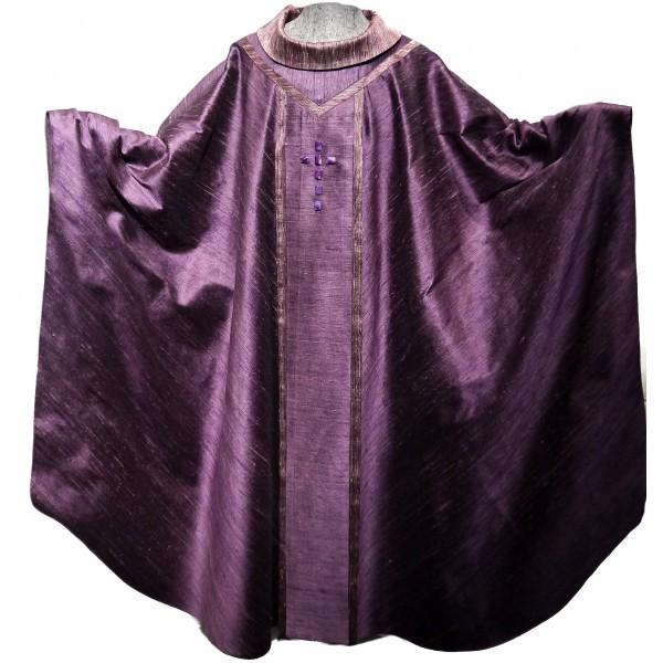 Messgewand - ausgefallen, aus zwei violetten Seiden - Vorderteil
