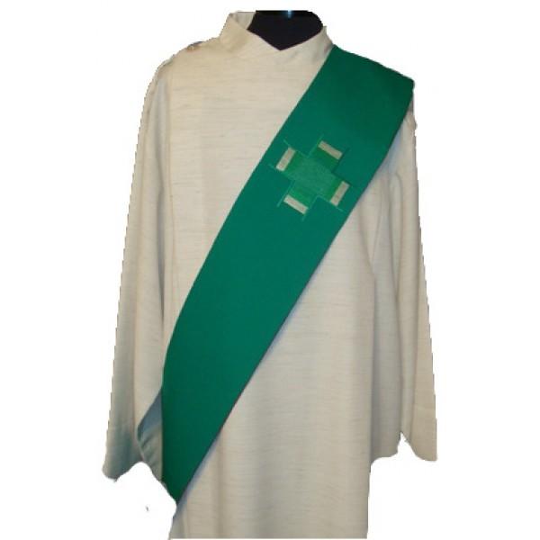 Diakonstola grün bestickt mit 2 Kreuzen - Vorderteil