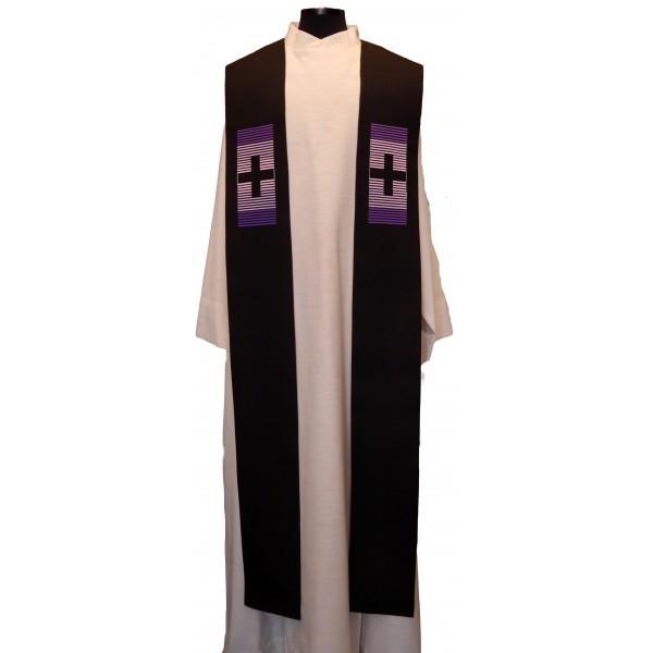 Stola - schwarz mit 2 violetten Kreuzen