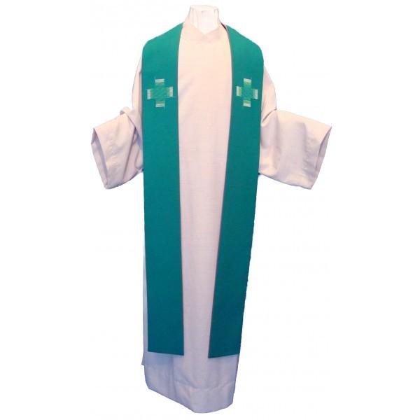 Stola - grün, schlicht bestickt mit 2 Kreuzen