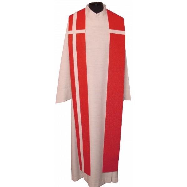 Seidenstola - rot mit weißem Kreuz