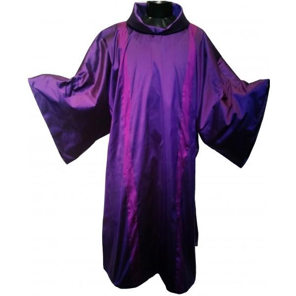 Dalmatik - violett mit Clavistäben - Seide - Vorderteil