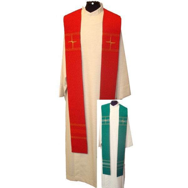Wendestola mit Kreuzen und Streifen - rot/grün